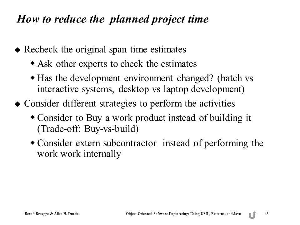 How to reduce the planned project time