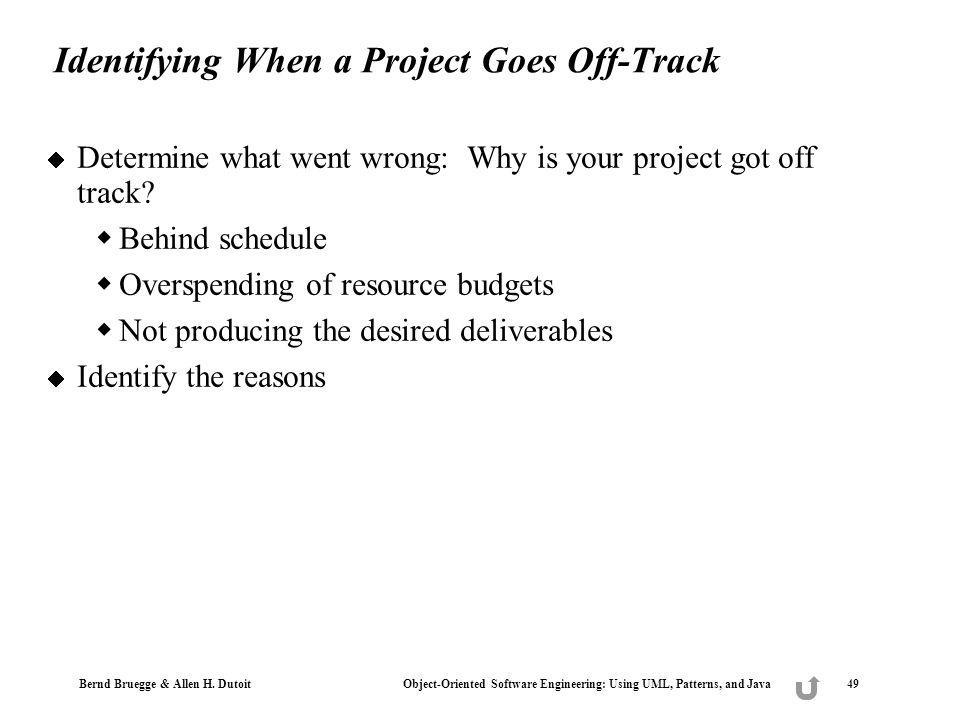 Identifying When a Project Goes Off-Track
