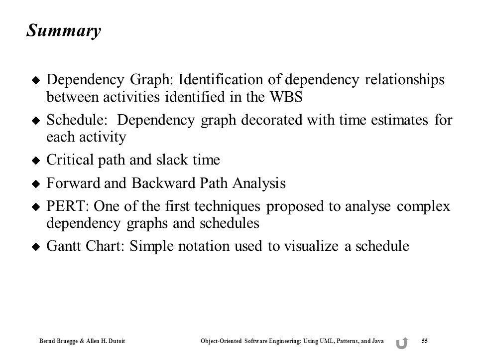 Summary Dependency Graph: Identification of dependency relationships between activities identified in the WBS.