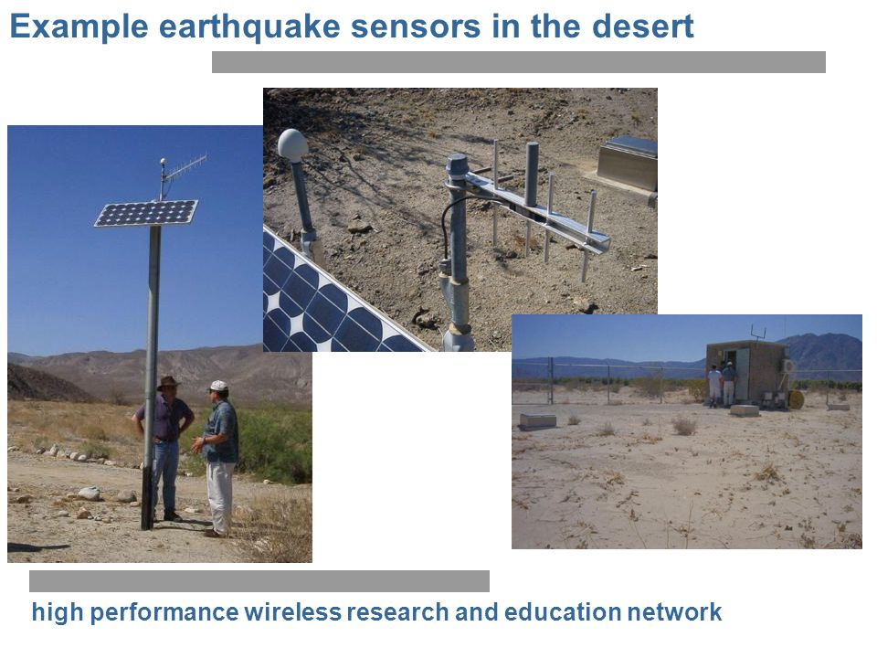 Example earthquake sensors in the desert