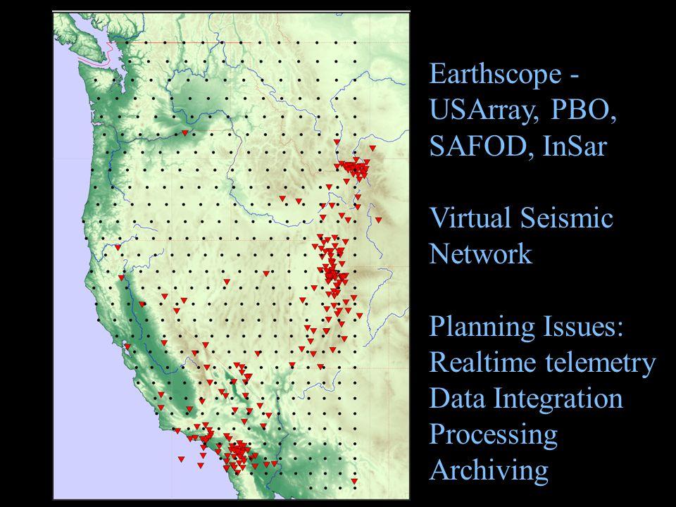 Earthscope -USArray, PBO, SAFOD, InSar