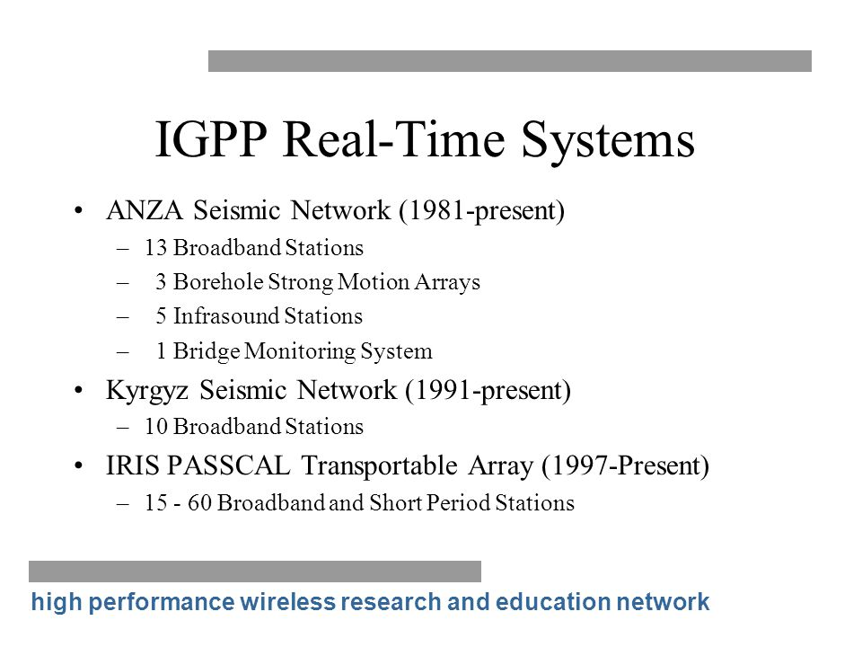 IGPP Real-Time Systems