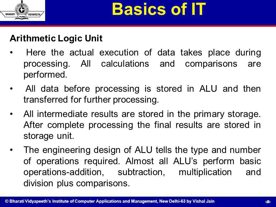 Basics of IT Arithmetic Logic Unit