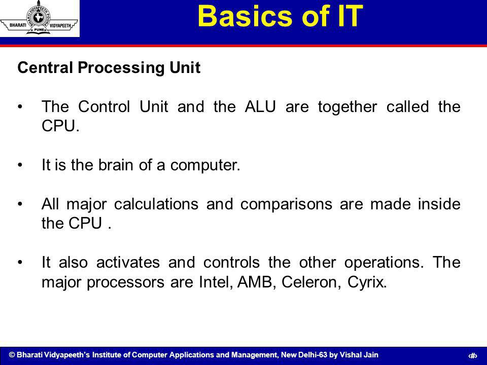 Basics of IT Central Processing Unit
