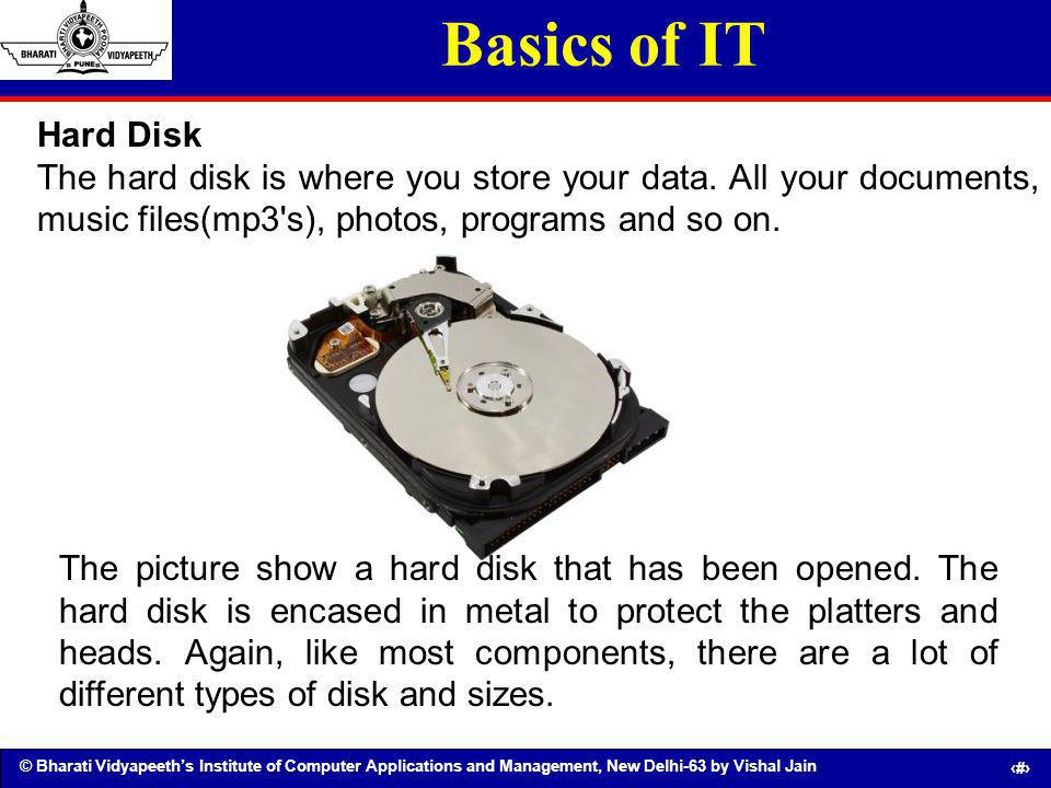 Basics of IT Hard Disk. The hard disk is where you store your data. All your documents, music files(mp3 s), photos, programs and so on.