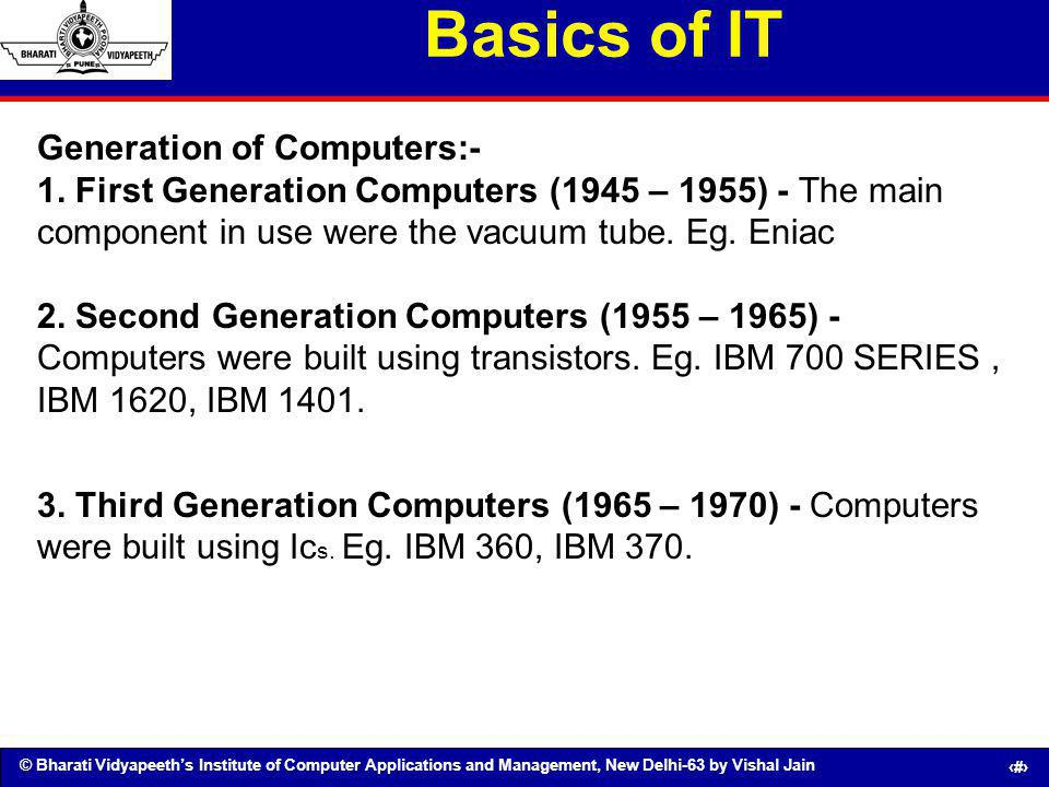 Basics of IT Generation of Computers:-