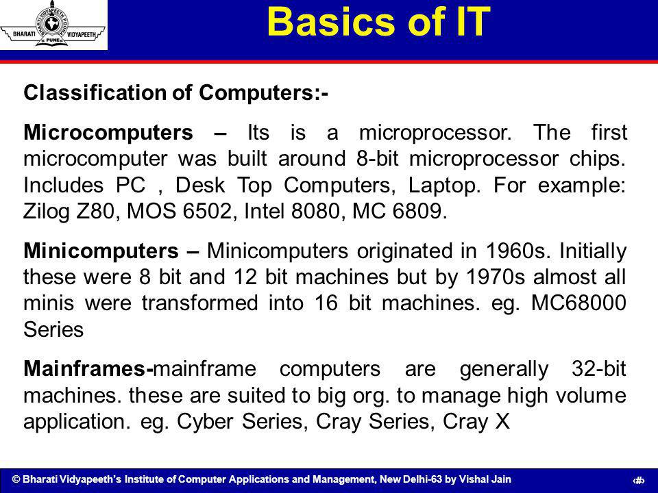 Basics of IT Classification of Computers:-