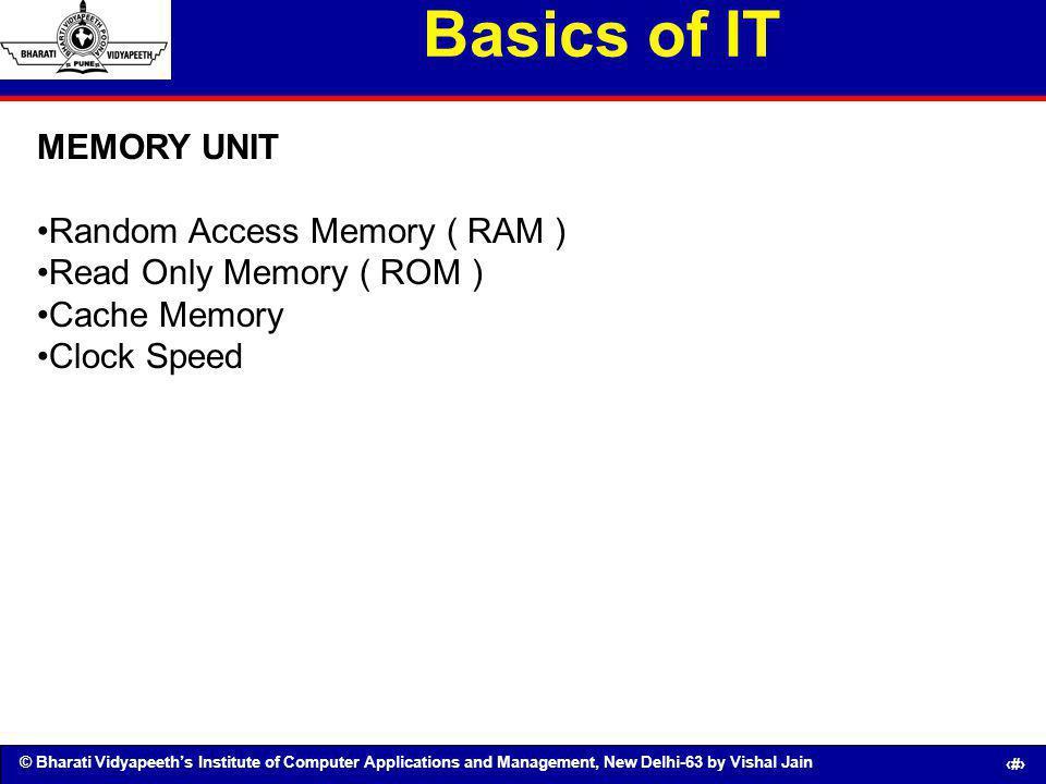 Basics of IT MEMORY UNIT Random Access Memory ( RAM )