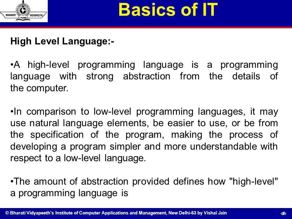 Basics of IT High Level Language:-