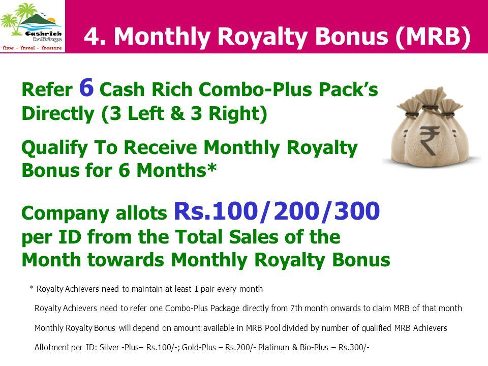 4. Monthly Royalty Bonus (MRB)