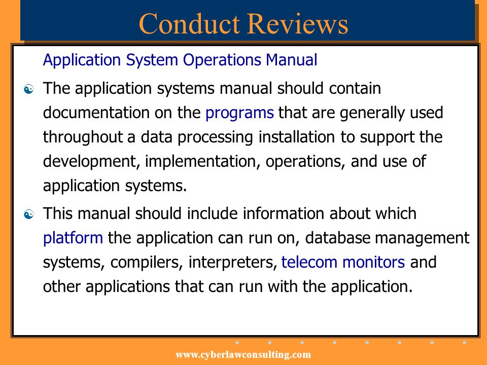 Conduct Reviews Application System Operations Manual