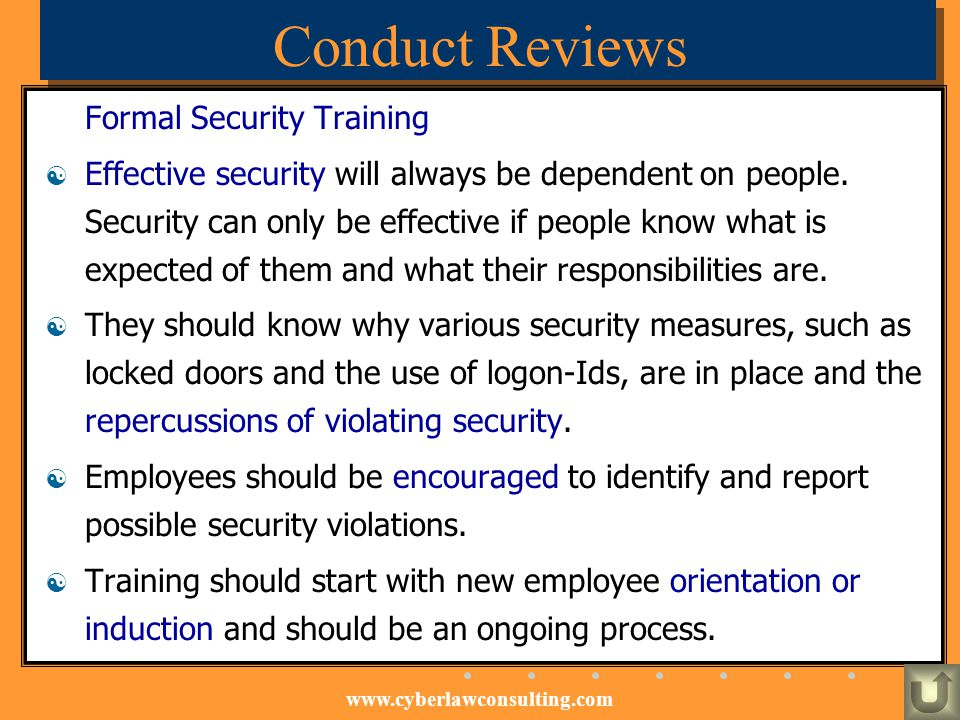 Conduct Reviews Formal Security Training