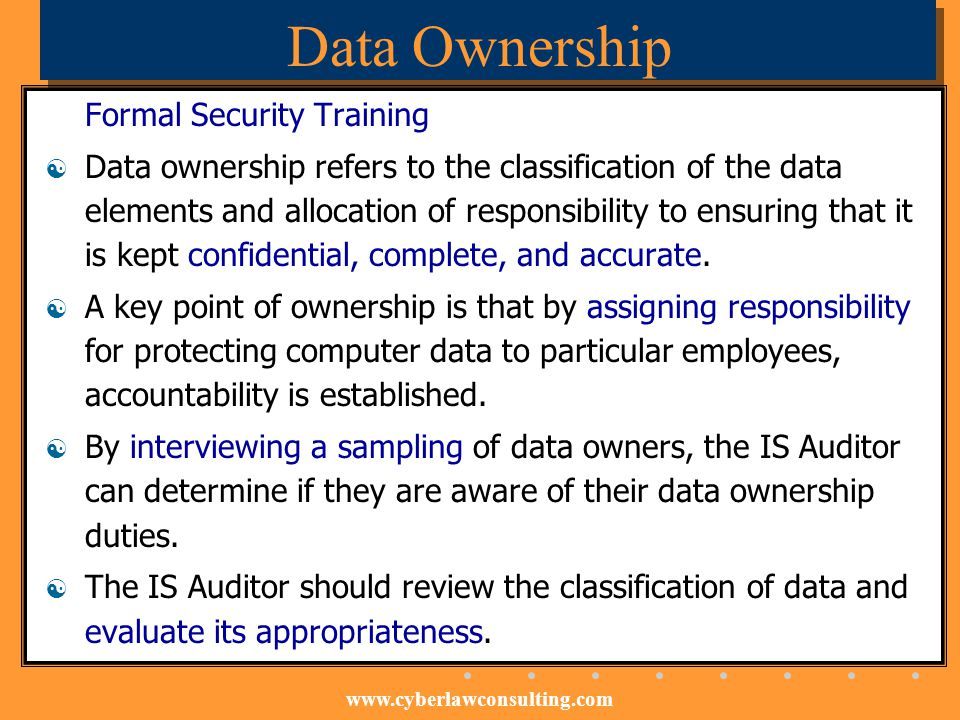 Data Ownership Formal Security Training