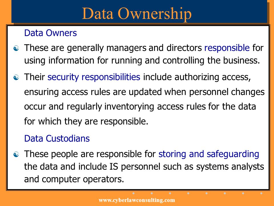 Data Ownership Data Owners