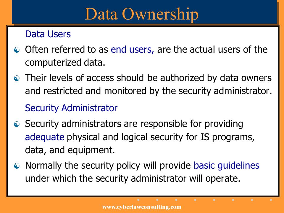 Data Ownership Data Users