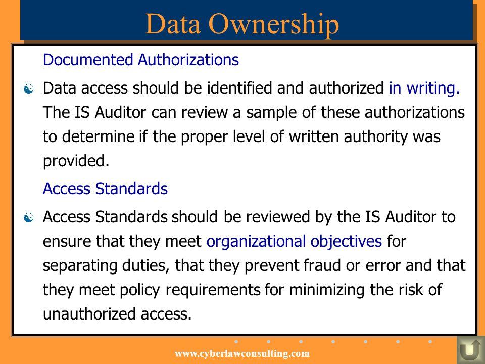 Data Ownership Documented Authorizations