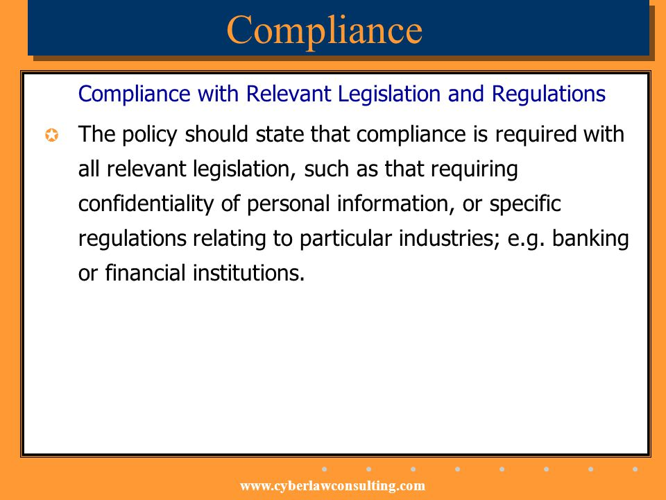 Compliance Compliance with Relevant Legislation and Regulations