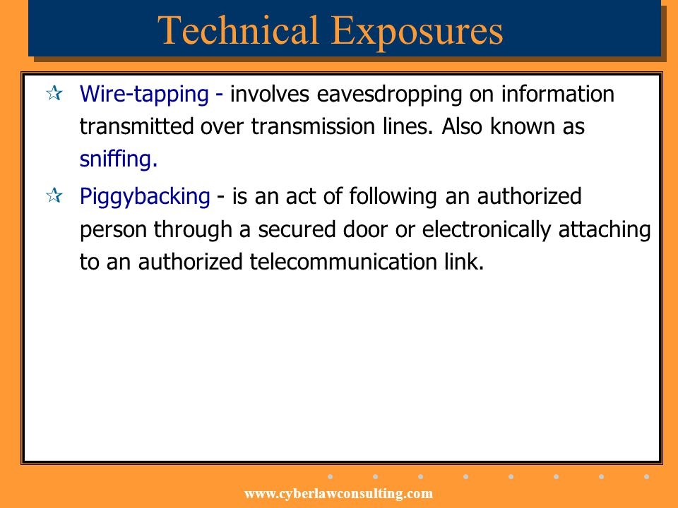 Technical Exposures Wire-tapping - involves eavesdropping on information transmitted over transmission lines. Also known as sniffing.