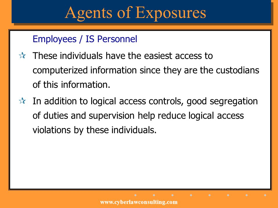 Agents of Exposures Employees / IS Personnel