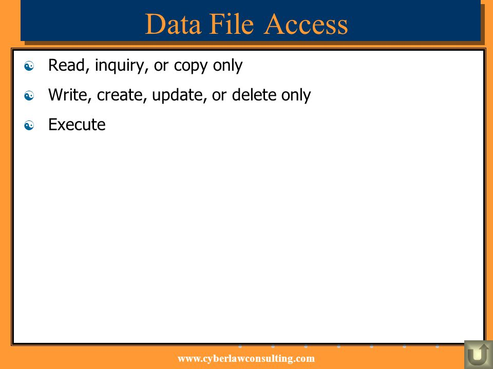 Data File Access Read, inquiry, or copy only