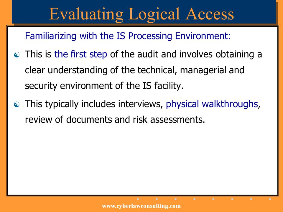 Evaluating Logical Access