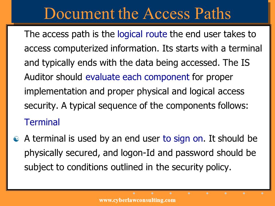 Document the Access Paths