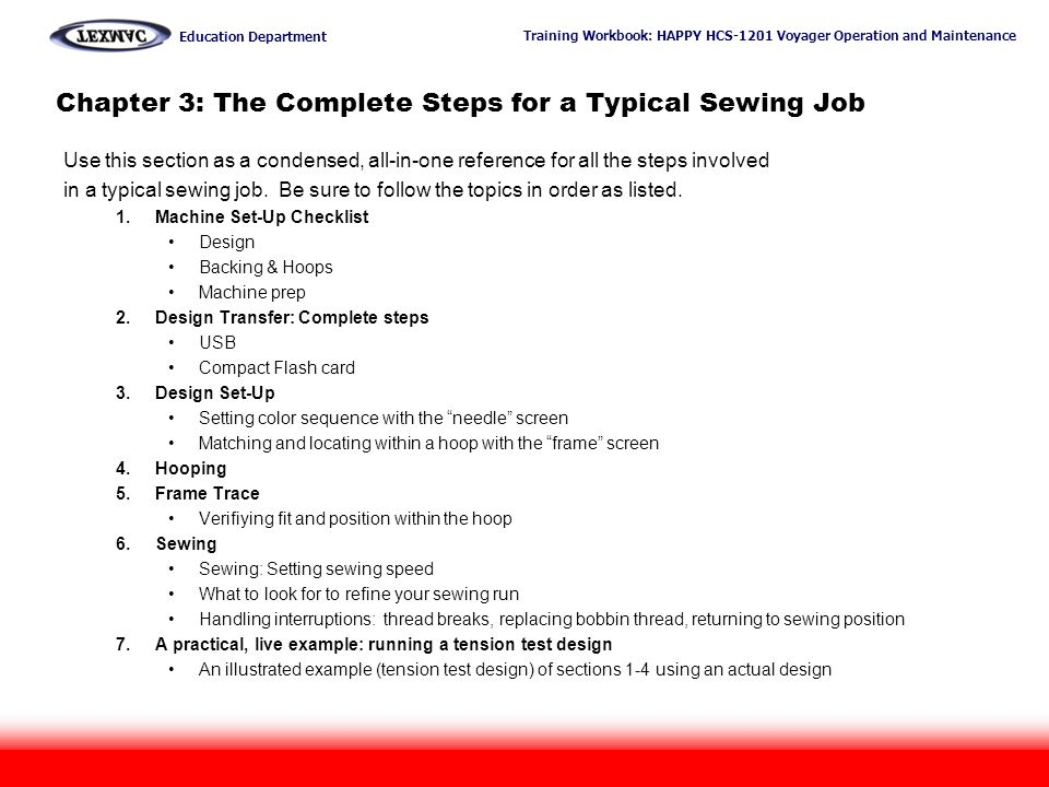 Chapter 3: The Complete Steps for a Typical Sewing Job