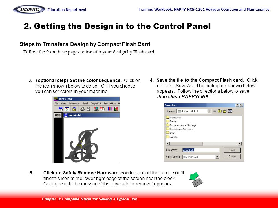 2. Getting the Design in to the Control Panel