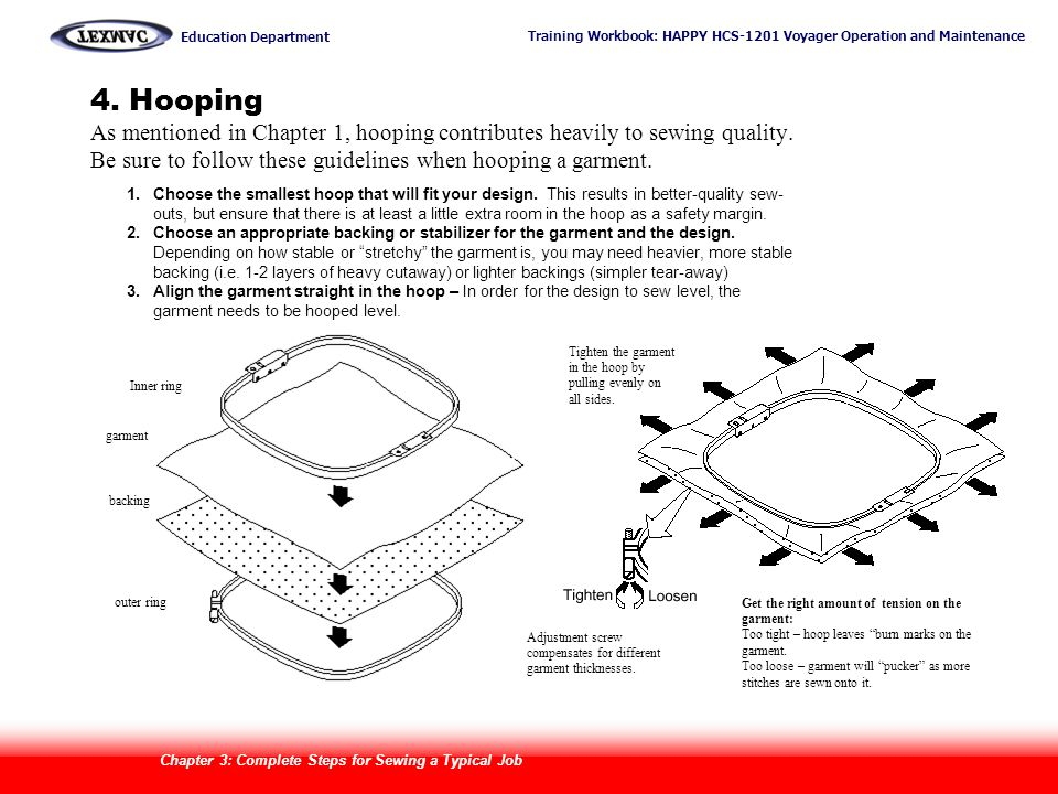 4. Hooping As mentioned in Chapter 1, hooping contributes heavily to sewing quality. Be sure to follow these guidelines when hooping a garment.