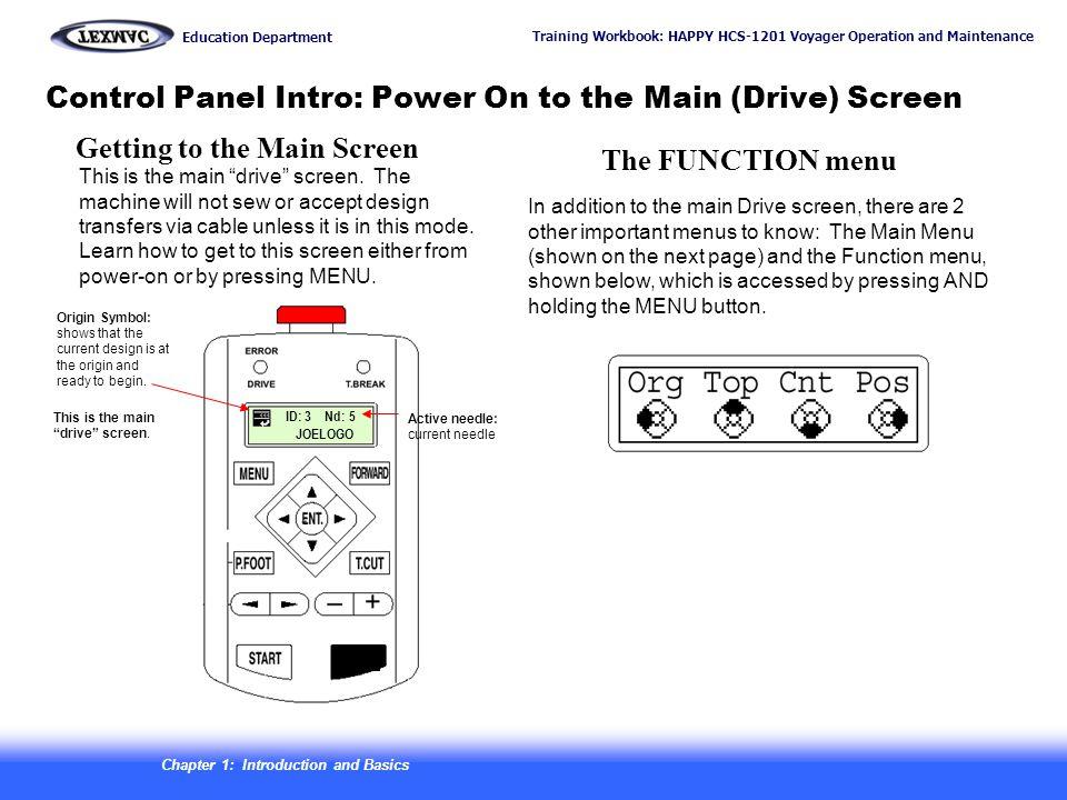 Control Panel Intro: Power On to the Main (Drive) Screen