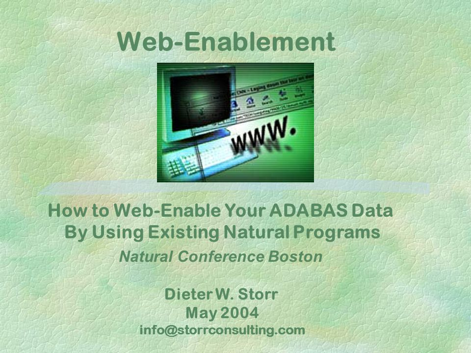 Storr Consulting May 2004. Web-Enablement. How to Web-Enable Your ADABAS Data By Using Existing Natural Programs.
