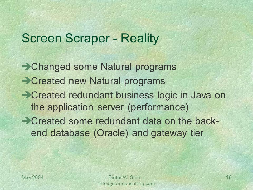 Screen Scraper - Reality