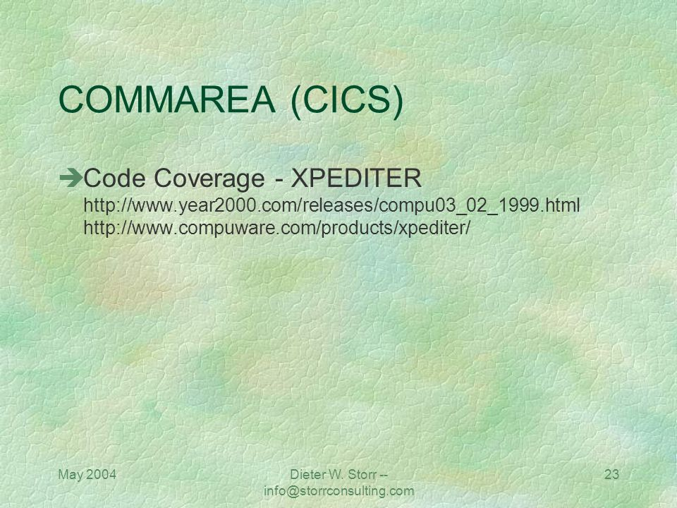 Dieter W. Storr -- info@storrconsulting.com