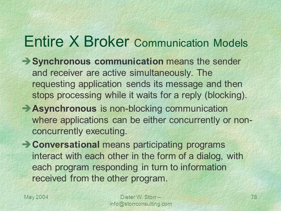 Entire X Broker Communication Models