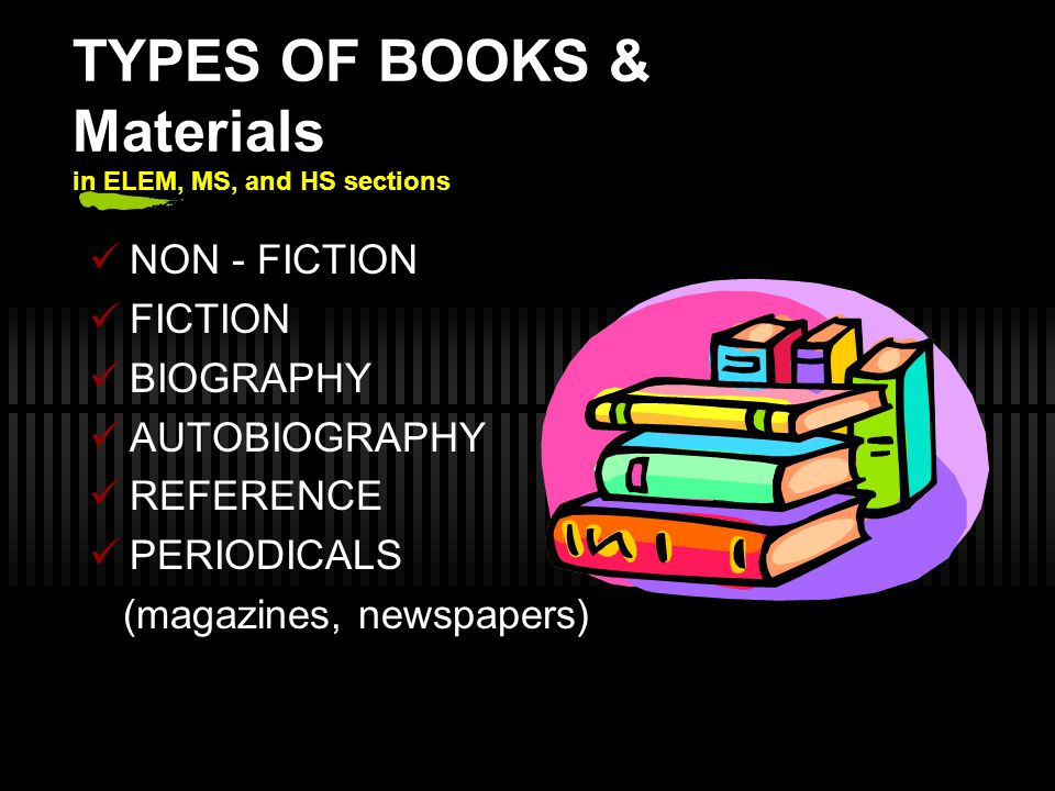 TYPES OF BOOKS & Materials in ELEM, MS, and HS sections