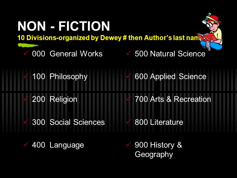 NON - FICTION 10 Divisions-organized by Dewey # then Author's last name