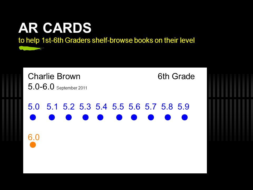 AR CARDS to help 1st-6th Graders shelf-browse books on their level