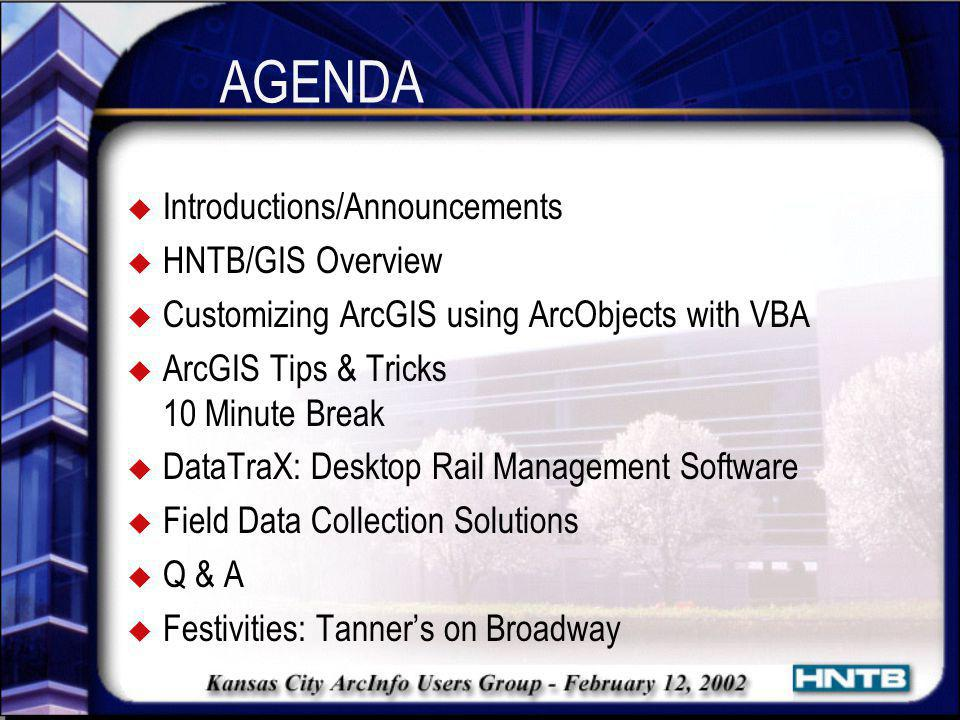 AGENDA Introductions/Announcements HNTB/GIS Overview