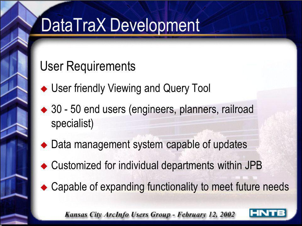 DataTraX Development User Requirements