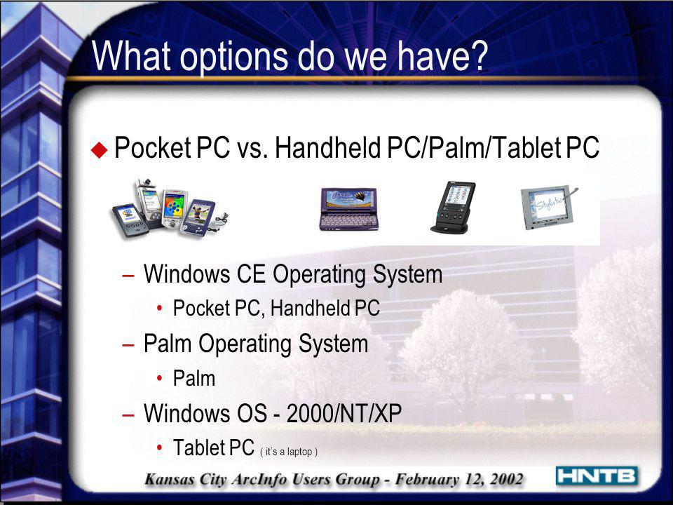 What options do we have Pocket PC vs. Handheld PC/Palm/Tablet PC