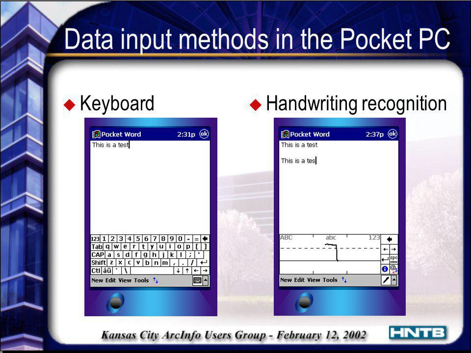 Data input methods in the Pocket PC
