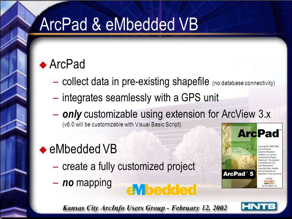 ArcPad & eMbedded VB ArcPad eMbedded VB