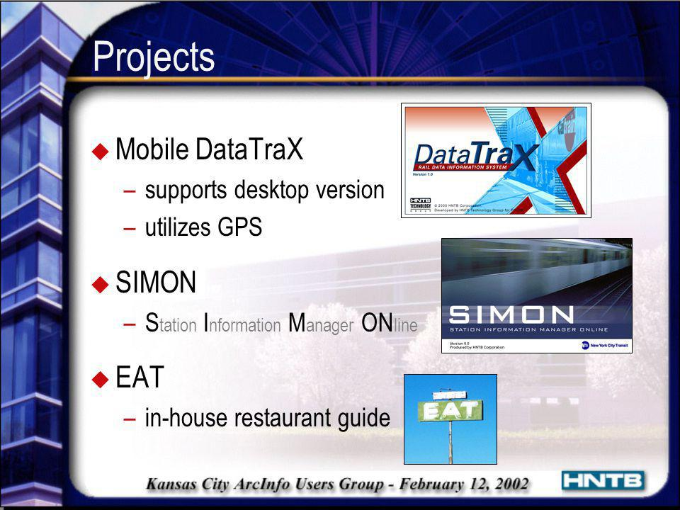 Projects Mobile DataTraX SIMON EAT supports desktop version