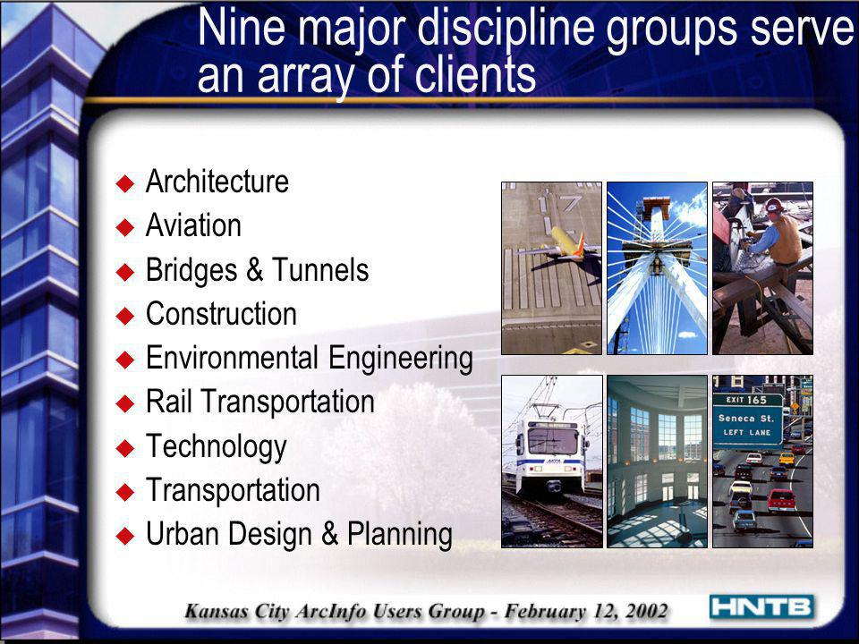 Nine major discipline groups serve an array of clients