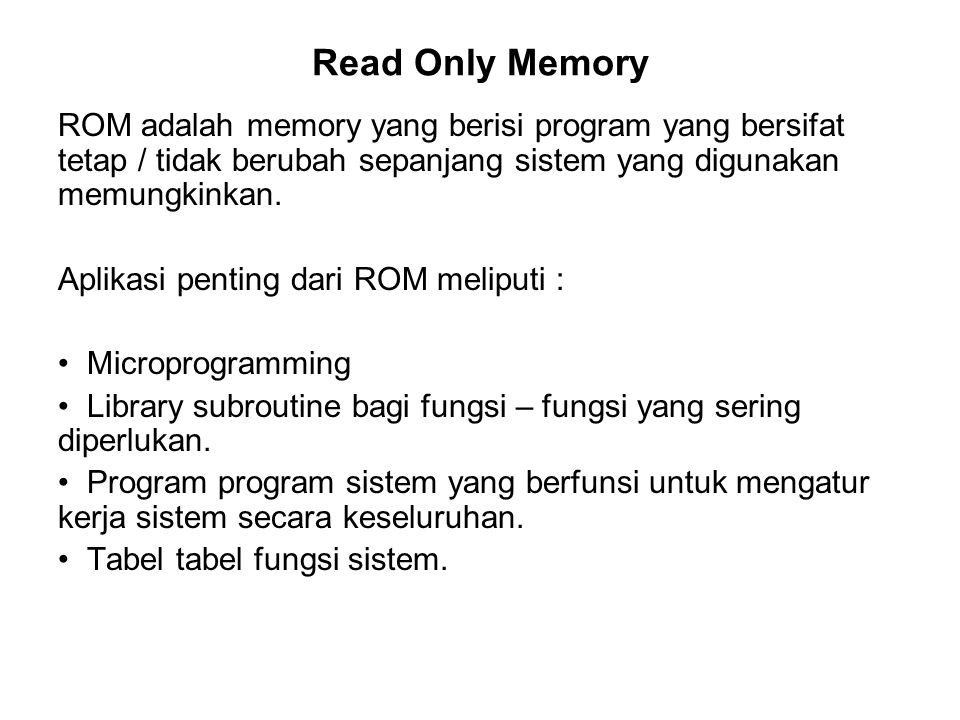 Read Only Memory ROM adalah memory yang berisi program yang bersifat tetap / tidak berubah sepanjang sistem yang digunakan memungkinkan.