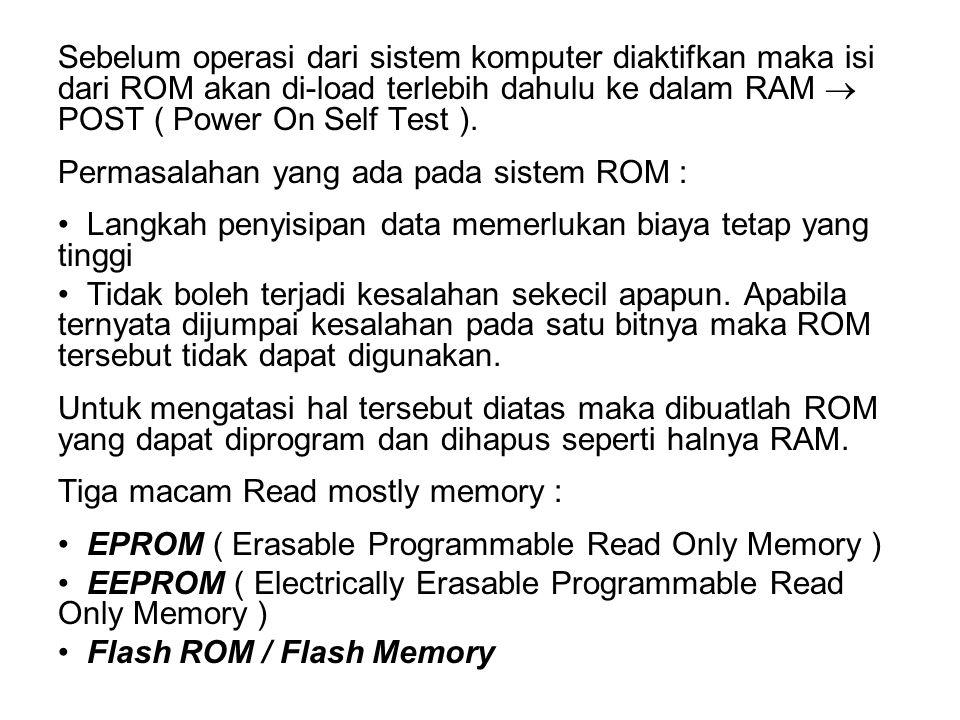 Sebelum operasi dari sistem komputer diaktifkan maka isi dari ROM akan di-load terlebih dahulu ke dalam RAM  POST ( Power On Self Test ).