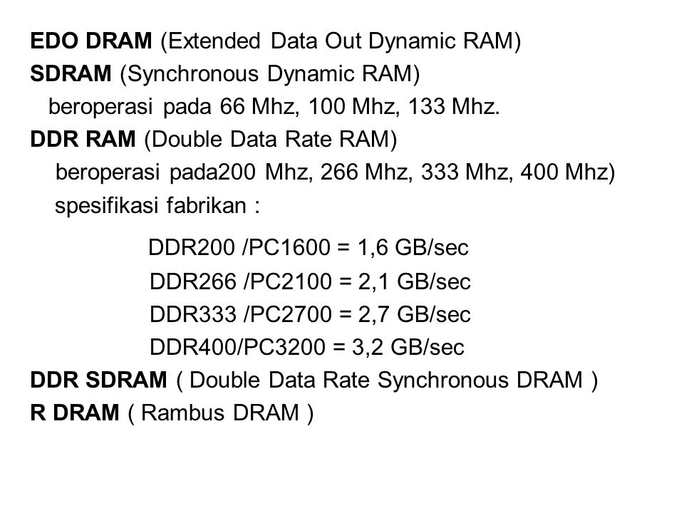DDR200 /PC1600 = 1,6 GB/sec EDO DRAM (Extended Data Out Dynamic RAM)