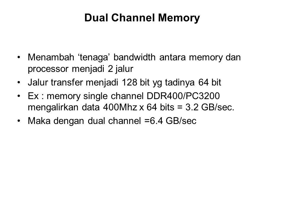 Dual Channel Memory Menambah 'tenaga' bandwidth antara memory dan processor menjadi 2 jalur. Jalur transfer menjadi 128 bit yg tadinya 64 bit.
