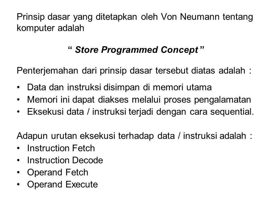 Prinsip dasar yang ditetapkan oleh Von Neumann tentang komputer adalah Store Programmed Concept