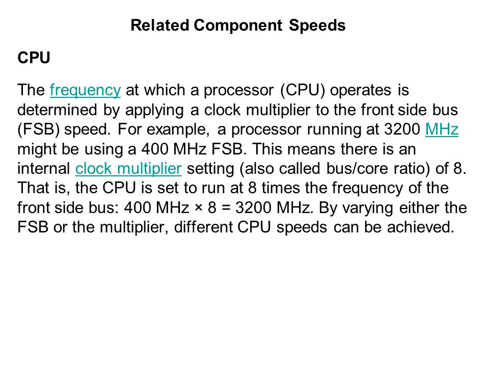 Related Component Speeds